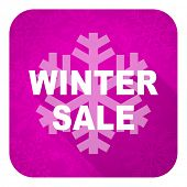 winter sale violet flat icon, christmas button