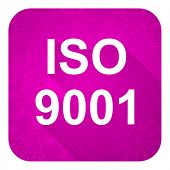 iso 9001 violet flat icon, christmas button