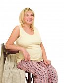 pregnant woman on chair isolated