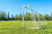 Soccer Goal In Field With Blue Sky White Cloud