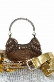 Fashionable accessories on white background