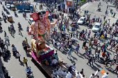 Hindu devotees transport Ganesha Idols for traditional immersion in water ganesh chathurthi festival