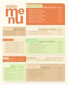 Modern flat menu list with dishes.