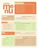 Modern flat menu list with dishes.