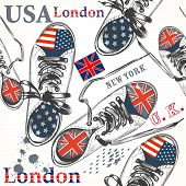 Fashion Seamless Pattern With Sports Boods Decorated By British And Usa Flags