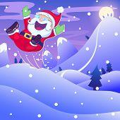 Santa Claus hopping in Christmas night
