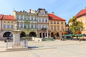Bielsko Biala, Poland - September 07, 2014: View Of The Historical Part Of Bielsko Biala In The Summ