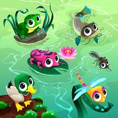 Funny animals in the pond. Cartoon vector illustrations.