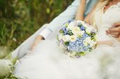 pic of sanctification  - Bride and groom with wedding bouquet on the grass - JPG