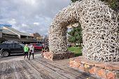 Elk antler arch in Jackson, WY