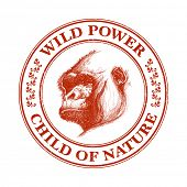 Ape head logo in red and white. Vector illustration