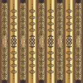Wood And Gold Vertical Arabesque Motif