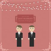 Gay Wedding Card Invitation with husbands in flat Vector
