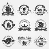 Set of coffee shop logos or vintage vector labels