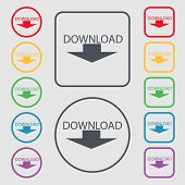 Download Icon. Set Of Colored Buttons. Vector