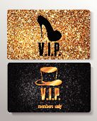 Gold VIP cards with design elements on the textured background