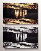 VIP cards with shiny letters and elements