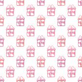 Seamless gift vector pattern on white background