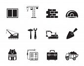 Silhouette building and construction icons