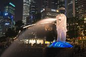 Merlion Fountain  Is A Symbol Of Singapore