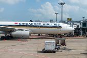 Singapore Airlines Airbus In The Airport