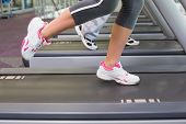Side view low section of a fit couple running on treadmills at the gym