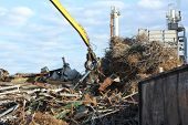 Wrecking yard backed by old chemical factory