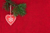 Christmas background wool knitted fabric with vintage decoration