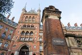LONDON, UK - NOVEMBER 20: Facade of the St. Pancras Renaissance Hotel. November 20, 2014 in London. Formerly used as railway offices, the hotel was redeveloped and reopened in 2011.