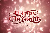 Happy christmas against snowflake design shimmering on red