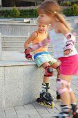 Rollerblading Children.