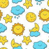 image of moon stars  - Funny sketching star sun cloud moon - JPG