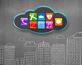App Icons On Black Cloud With Buildings Doodles Concrete Wall