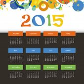 Calendar 2015 with Colorful Circles Background Template Design. Vector Illustration