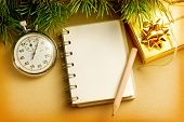 Christmas Background With Notepad