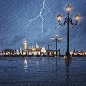Thunderstorm With Lightning In The Sky On The Grand Canal