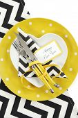 Bright And Modern Yellow, Black And White Chevron Stripe Happy New Year Table With Heart Shape Plate