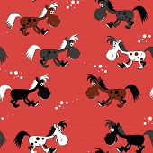Vector seamless background with cute horses. Pattern with small horses and cart with hay.  Symbol of