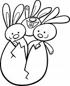 Easter Bunnies In Egg Coloring Page