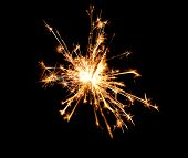 Beautiful sparkler on black background, close up