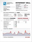 Internet Provider ISP Expenses Bill Document Template Layout Vector