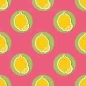Lemon Pattern. Seamless Texture With Ripe Lemons