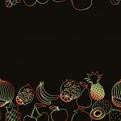 Fruit Seamless Border Pattern. The Image Of Fruits And Berries