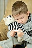 Little Boy Looking At The Thermometer And Holding A Toy Dog