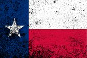 stock photo of texas state flag  - The flag of the USA state of TEXAS with grunge effect - JPG
