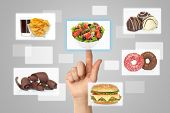 Woman hand uses touch screen interface with food