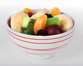 Mix of fruits in bowl isolated on white