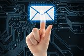 Hand pushing virtual mail button