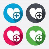 Heart sign icon. Add lover symbol.