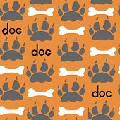 Dog Textile Pattern. Vector Seamless.
